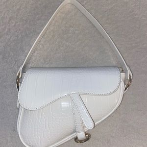 White croc mini purse
